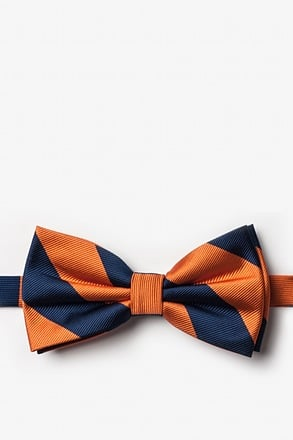 _Orange & Navy Stripe Pre-Tied Bow Tie_