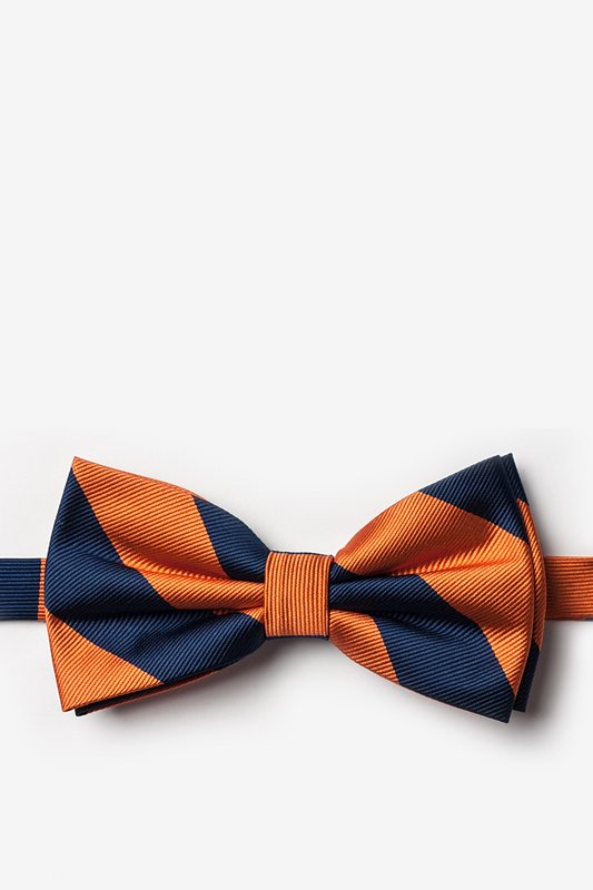 Orange & Navy Stripe Pre-Tied Bow Tie