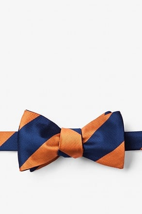 _Orange & Navy Stripe Self-Tie Bow Tie_