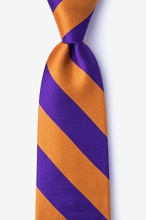 _Orange & Purple Stripe Extra Long Tie_