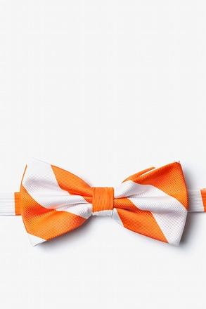 _Orange & White Stripe Pre-Tied Bow Tie_