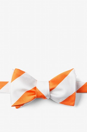 _Orange & White Stripe Self-Tie Bow Tie_