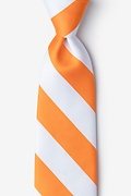 Orange Microfiber Orange & White Stripe Tie