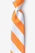 Orange Microfiber Orange & White Stripe Tie For Boys
