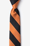 Orange Microfiber Orange & Black Stripe Skinny Tie