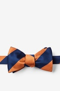 Orange Microfiber Orange & Navy Stripe Bow Tie