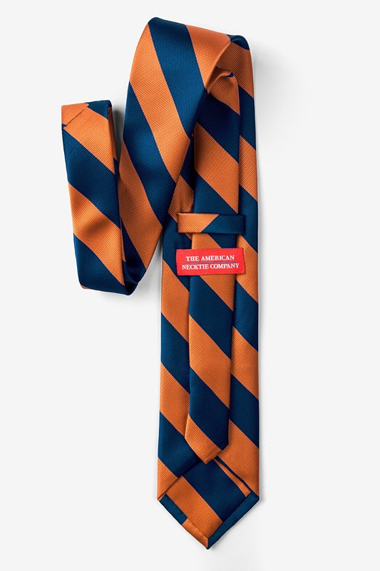 Orange & Navy Stripe Extra Long Tie