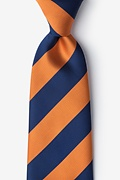 Orange Microfiber Orange & Navy Stripe Extra Long Tie
