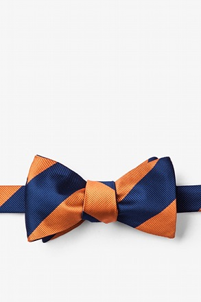 Orange & Navy Stripe Self-Tie Bow Tie