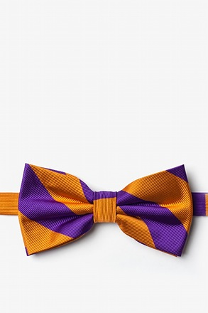 Orange & Purple Stripe Pre-Tied Bow Tie