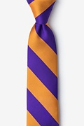 Orange Microfiber Orange & Purple Stripe Tie For Boys