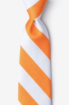 Orange & White Extra Long Tie
