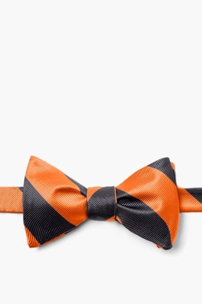 Orange and Black Stripe Self-Tie Bow Tie