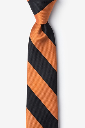 Orange And Black Stripe Skinny Tie