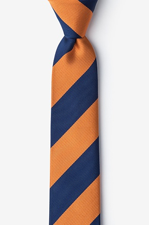 Orange And Navy Stripe Skinny Tie
