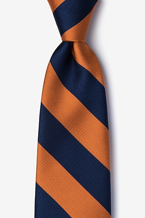 Orange And Navy Stripe Tie