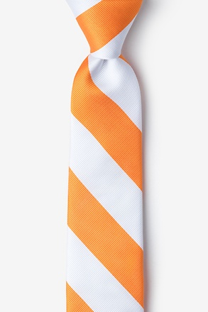 Orange And White Skinny Tie