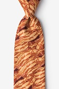 Orange Microfiber Sizzlin' Bacon Extra Long Tie