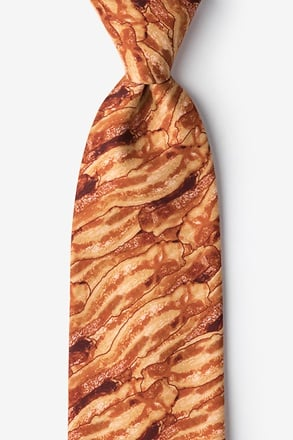 _Sizzlin' Bacon Orange Extra Long Tie_