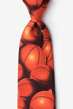 _Basketball Fever Orange Extra Long Tie_
