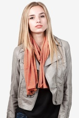 Orange Polyester Candy Stripe Scarf