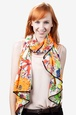 Orange Polyester Floral Bouquet Scarf
