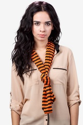 Orange Polyester Traveling Stripe Scarf