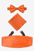 Orange Silk Burnt Orange Pretied Bow Tie Cummerbund Set