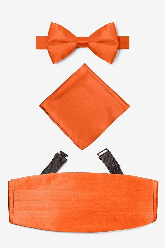 Burnt Orange Pretied Bow Tie Cummerbund Set