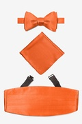 Orange Silk Burnt Orange Self Tie Bow Tie Cummerbund Set