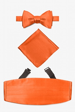 Burnt Orange Self Tie Bow Tie Cummerbund Set