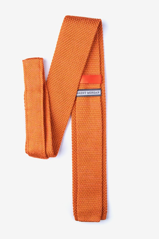 Classic Solid Orange Knit Skinny Tie
