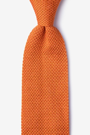 _Classic Solid Orange Knit Tie_