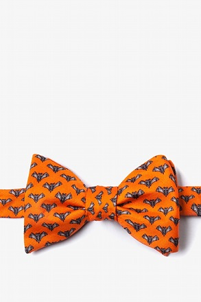 Going Batty Orange Self-Tie Bow Tie