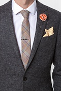 Orange Piped Flower Lapel Pin
