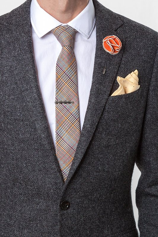 Orange Piped Flower Lapel Pin Photo (2)