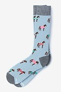 Pale Blue Carded Cotton Horsin' Around Sock