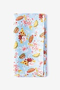 Pale Blue Microfiber Fast Food Floral Pocket Square
