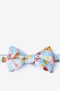 Pale Blue Microfiber Fast Food Floral Self-Tie Bow Tie