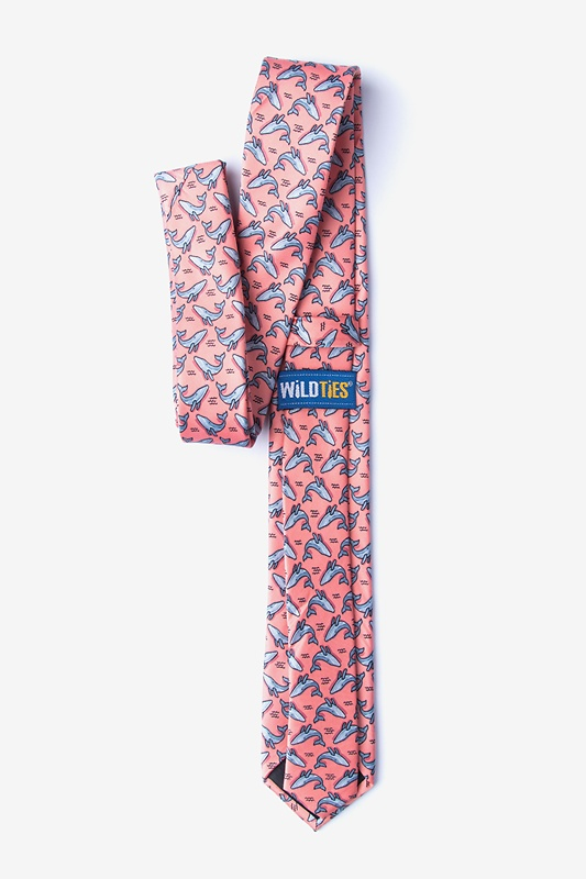 Blue Whales Peach Skinny Tie Photo (1)