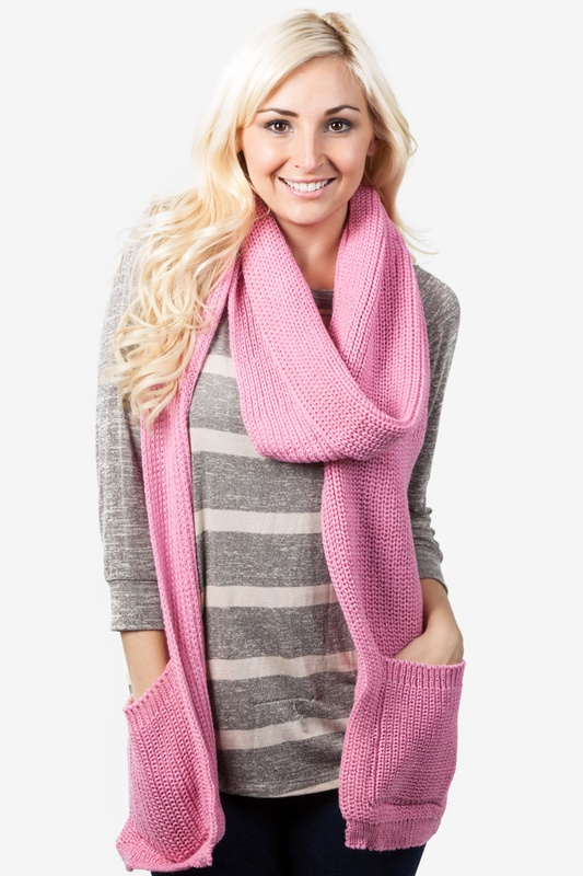 Pocket Pink Knit Scarf by Scarves.com