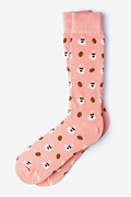 Pink Carded Cotton But First, Coffee Sock