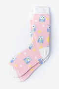 Pink Carded Cotton Owl Night Long Women's Sock