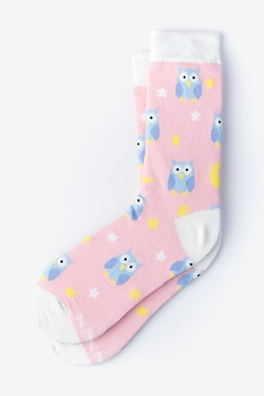 Owl Night Long Pink Women's Sock