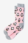 Pink Carded Cotton Penguins Are Chill Women's Sock