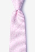 Pink Cotton Cheviot Extra Long Tie