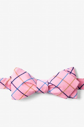 Pink Reece Check Diamond Tip Bow Tie