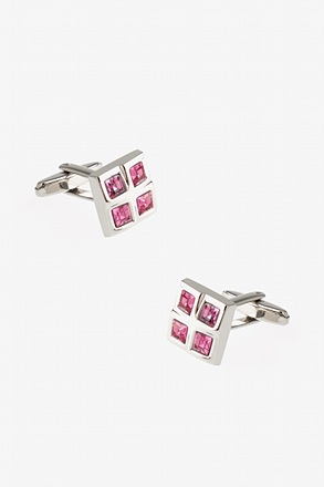 Divided Squares Pink Cufflinks
