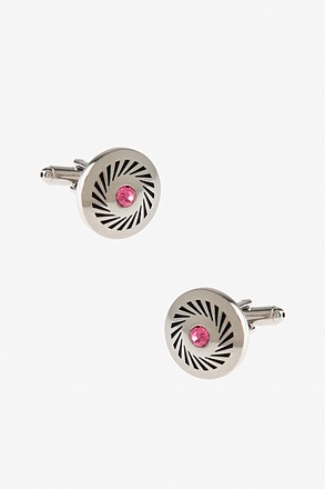 Rhinestone Wheel Pink Cufflinks