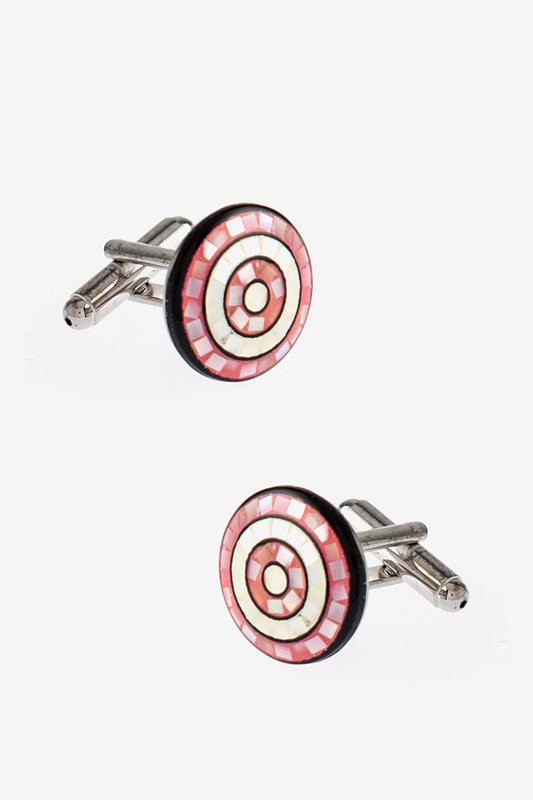Round Mosaic Circles Pink Cufflinks Photo (0)